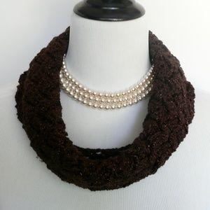 Hand Crochet Brown Basket Weave Cowl Neck Scarf